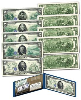 Set of all 5 1914 Series Hybrid New Modern $2 Bills