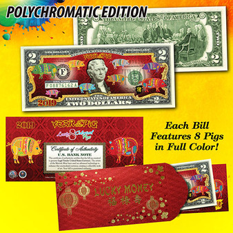 2019 Year Of The Pig Colorized $2 Bill Polychromatic 8 Pigs in Red Envelope