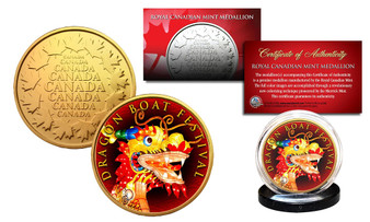 Dragon Boat Festival Chinese Poet Qu Yuan 24K Gold Plated Royal Canadian Mint RCM Medallion Coin