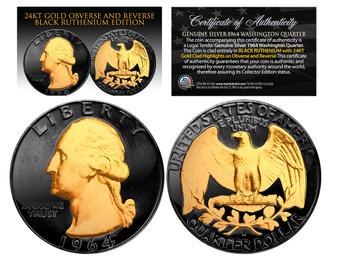 Black Ruthenium Clad 24K Gold Plated 1964 Silver U.S. Quarter