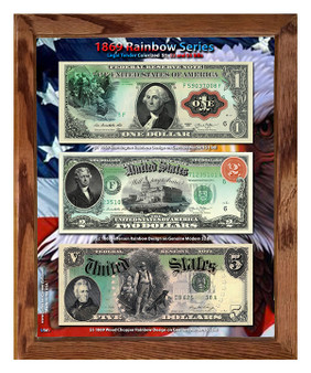"1869 Rainbow Series Colorized $1, $2 & $5 Modern Currency Set in 8"" x 10"" Frame"