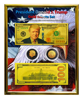 """President Trump $100 Gold & Ruthenium Tribute Coin & Currency Set in 8"""" x 10"""" Frame"""
