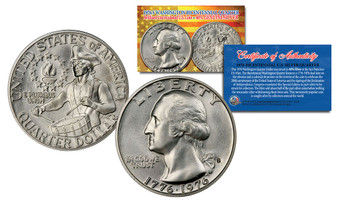 1976 S Mint Washington Bicentennial Silver Proof Quarter Gem BU Coin w/COA & Holder