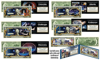 NASA Space Shuttle Missions Set of All 6 Genuine Legal Tender Colorized $2 Bills