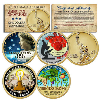 Set of All 4 American Innovation Colorized 2019 Statehood $1 Coins