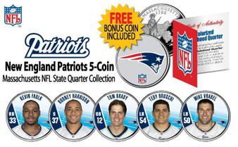 2009 New England Patriots Massachusetts State Quarter NFL 6 Coin Set