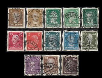 1926 #385-397 Famous Germans Cancelled