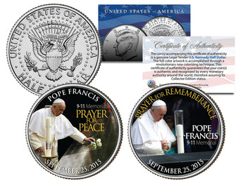 Pope Francis Visits 9/11 Memorial Colorized JFK Half Dollar 2 Coin Set