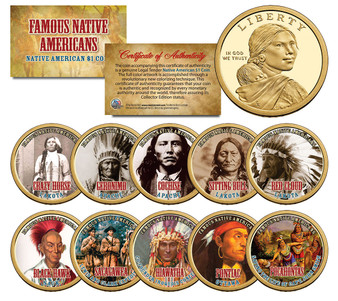 Famous Native Americans Set of 10 Colorized Sacagawea Dollars