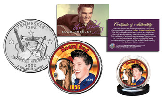 Elvis Presley Hound Dog Colorized Tennessee State Quarter