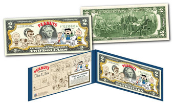 The Peanuts Gang Then & Now Commemorative Colorized $2 Bill
