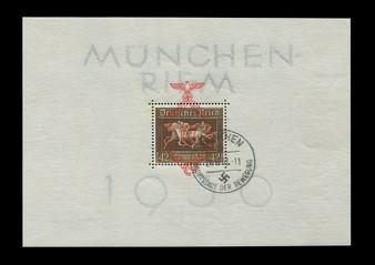 "1937 #649 Block 10 Munchen Riem ""The Brown Ribbon"" Cancelled"