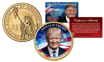 Donald Trump 45th President Colorized 2016 Reagan Presidential Dollar 1