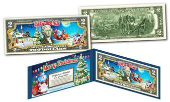 Merry Christmas Santa Sleigh Colorized $2 Bill