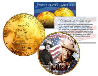 John Wayne 24K Gold Plated Serialized Ike Dollar