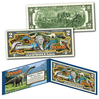 Dinosaurs That Roamed The Earth Colorized $2 Bill