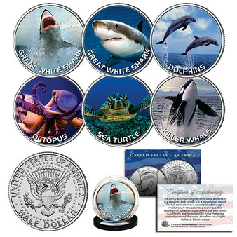 Sea Life Shark Whale Turtle Dolphin Great White Octopus Colorized JFK Half Dollar 6 Coin Set