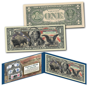 Americana Images of Historical U.S. Currency $1 Bill * BISON - INDIAN - EAGLE *