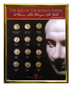 """The Rise of the Roman Empire 24K Gold PlatedHistorical Replica Set in 8"""" x 10"""" Frame"""