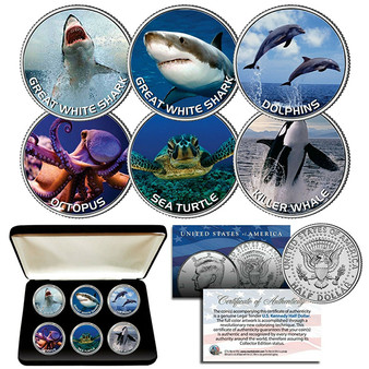 Sea Life Shark Whale Turtle Dolphin Great White Octopus JFK Half Dollar Colorized 6 Coin Set with Case