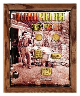 "Colorado Gold Rush Pike's Peak Gold Historical 24K Gold Plated Replica Set in 8"" x 10"" Frame"