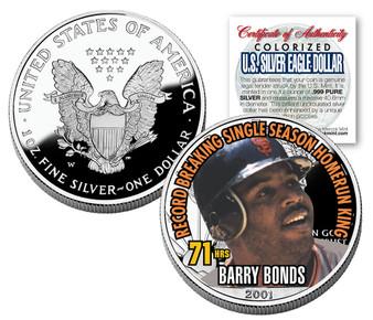 Barry Bonds 71 Hours Colorized 2001 1 Oz. Silver Eagle