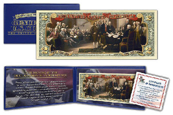 Signing of the Declaration of Independence Colorized $2 Bill