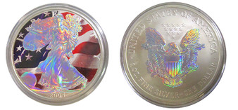 Silver Hologram Both Sides With Flag 2004 Silver Eagle 1 Ounce U.S. Silver Eagle in Box