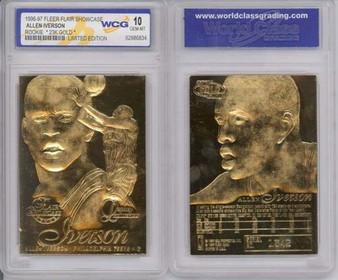 Allen Iverson Rookie 1996 23K Gold Sculptured Card Graded Gem Mint 10