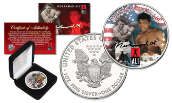 Muhammad Ali Colorized Silver Eagle in Display Box