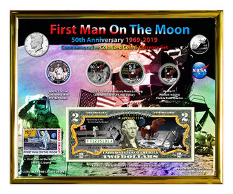 """First Man On The Moon Apollo 11 Color 50th Anniversary Colorized Coin & Currency Set in 8"""" x 10"""" Frame"""