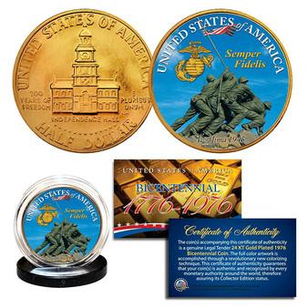 IWO JIMA US Marines 24K Gold Plated 1976 Bicentennial JFK Half Dollar