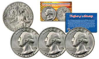 Lot of 3 1976 S Mint Washington Bicentennial Silver Proof Quarters Gem BU Coin w/COA & Holders