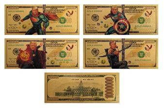 Super Trump 24K Gold Plated Set of 4 $1 Million Novelty Bills