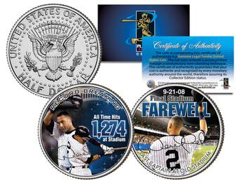 Derek Jeter Yankee Stadium Farewell Colorized JFK Half Dollar 2 Coin Set