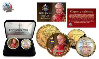 Pope John Paul II Beatification 24K Gold Plated & Colorized JFK Half Dollar & State Quarter 2 Coin Set in Custom Case
