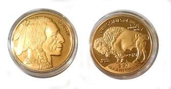 "Buffalo $50 Proof Gold Replica Coin - Diameter 1 3/8"""