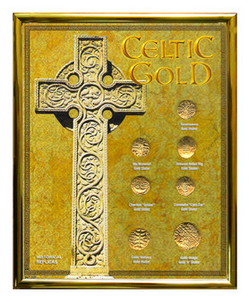 """Celtic Gold 24K Gold Plated Historical Replica Set in 8"""" x 10"""" Frame"""