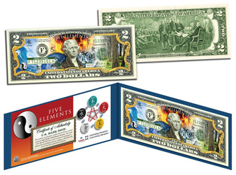 Ancient Chinese Five Elements Wu Xing Colorized $2 Bill