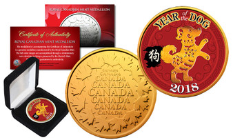 2018 Year of the Dog Colorized Royal Canadian Mint Medallion in Box