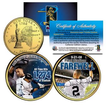 Derek Jeter Yankee Stadium Farewell Colorized and 24K Gold Plated New York Quarter 2 Coin Set
