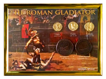 """The Roman Gladiator 5 Coin Set of Historical Replicas in 5"""" x 7"""" Frame"""