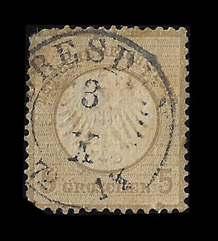 1872 #6 Small Shield 5 Groschen Cancelled