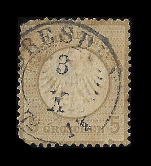 1872 #6 Small Shield 5 Groschen Cancelled