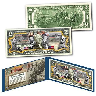 American Civil War Confederate & Union Generals and Commanders Colorized $2 Bill