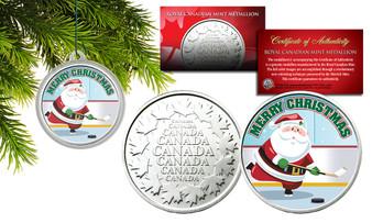 Merry Christmas Santa Playing Hockey Canadian RCM Medallion in Christmas Tree Ornament Capsule