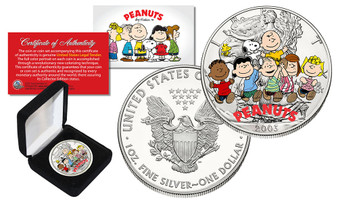 Peanuts Charlie Brown Snoopy 2003 Colorized 1 Oz. Silver Eagle