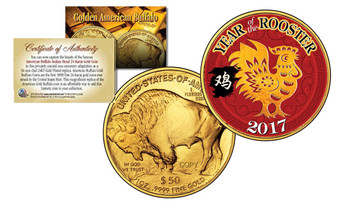 2017 Year Of The Rooster Chinese New Year $50 Gold Buffalo Replica Coin