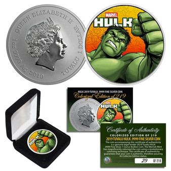 2019 Tuvalu 1 OZ Pure Silver HULK Coin - Limited & Numbered of 219
