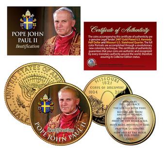 Pope John Paul II Beatification 24K Gold Plated & Colorized JFK Half Dollar & State Quarter 2 Coin Set